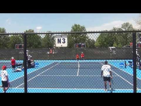 Alex Domijan serves for the match at #2 doubles against Georgia
