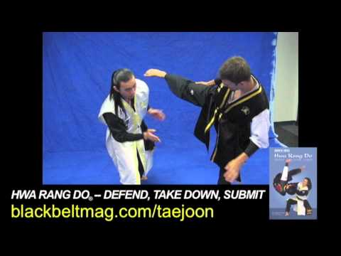 Korean Martial Arts: Hwa Rang Do's Taejoon Lee Demonstrates a Spinning Leg-Scissor Takedown Image 1