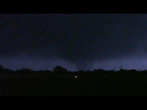 Lightning-illuminated tornado near San Antonio, TX!