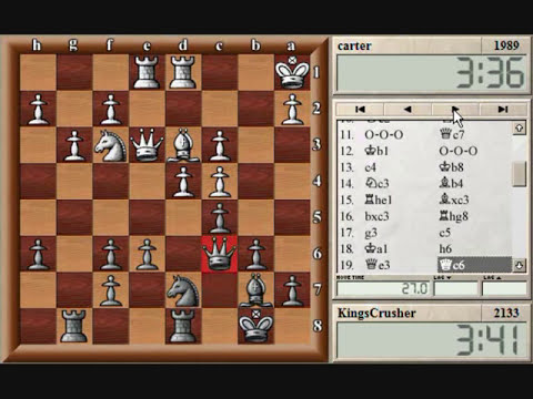 Chess World.net:  Blitz #42 vs. carter (1989) - French Defence Burn Variation - Castling Queenside