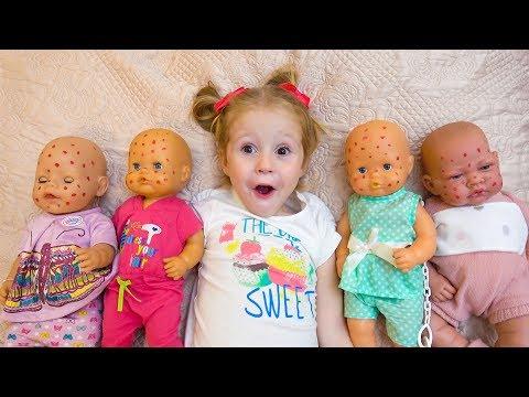 Куклы пупсики и Настя заботливая как мама Видео для детей