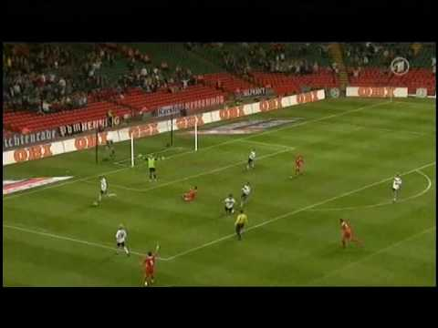 Wales - Germany 0-2 All Goals & Highlights, Podolski hits Ballack [High Quality]