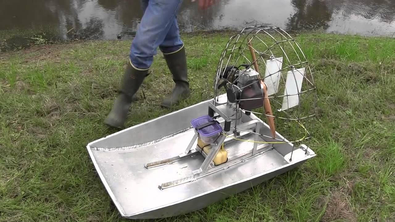 RC AIR BOAT BIG GAS POWER HAND BULT - YouTube