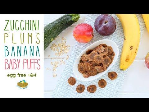 Banana Plums Zucchini Baby Puffs Recipe +6M