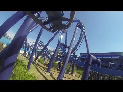 Great White Roller Coaster POV SeaWorld San Antonio Texas B&M Inverted Batman Clone