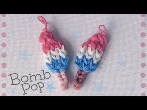 Rainbow Loom : Bomb Pop Charm - How To - Popsicle    Ice Lolly video
