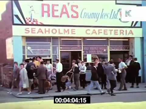 Early 1960s Stockton and Redcar, North of England, street scenes, market and parade