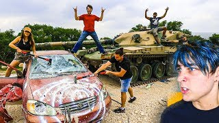 DESTROYING BEST FRIEND'S CAR WITH A TANK!