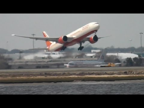 Air India 777-300ER takes off from JFK New York - VT-ALT.