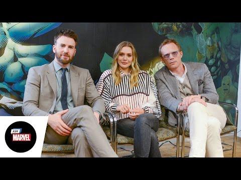 Ask Marvel: Chris Evans, Elizabeth Olsen, Paul Bettany — Marvel's Captain America: Civil War