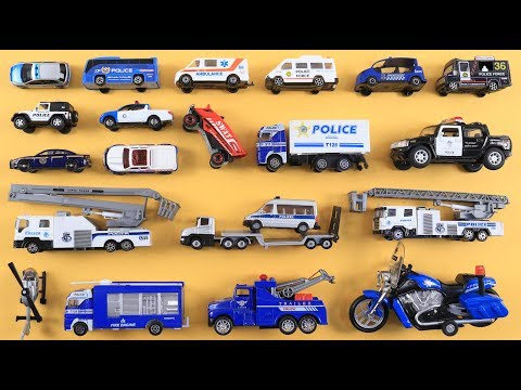 Learn Police Vehicles for Kids Children Toddlers Babies | Police Toys | Police Car, Truck, Bus, Bike