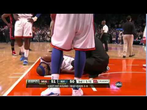 Baron Davis gruesome knee injury Heat-Knicks Game 4