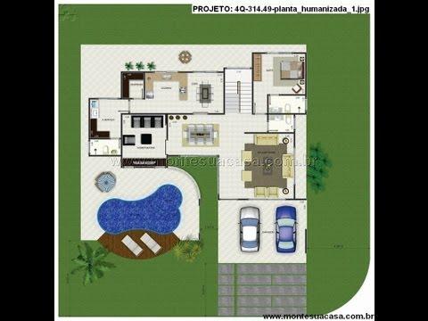 Plantas de sobrados de 4 quartos - montesuacasa.com.br