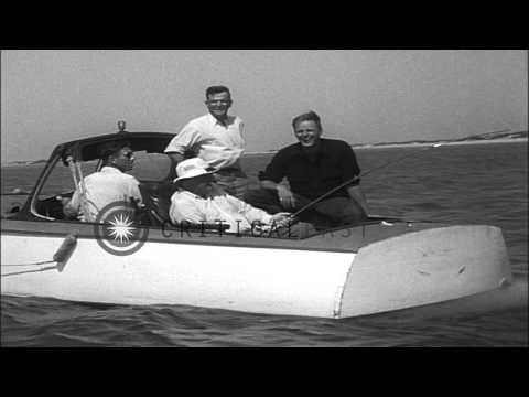 President Roosevelt catches a 80 pound tarpon off the coast of Port Aransas, Texa...HD Stock Footage