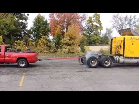 Semi vs  Chevy dually   tug of war   Street FX Motorsport & Graphics