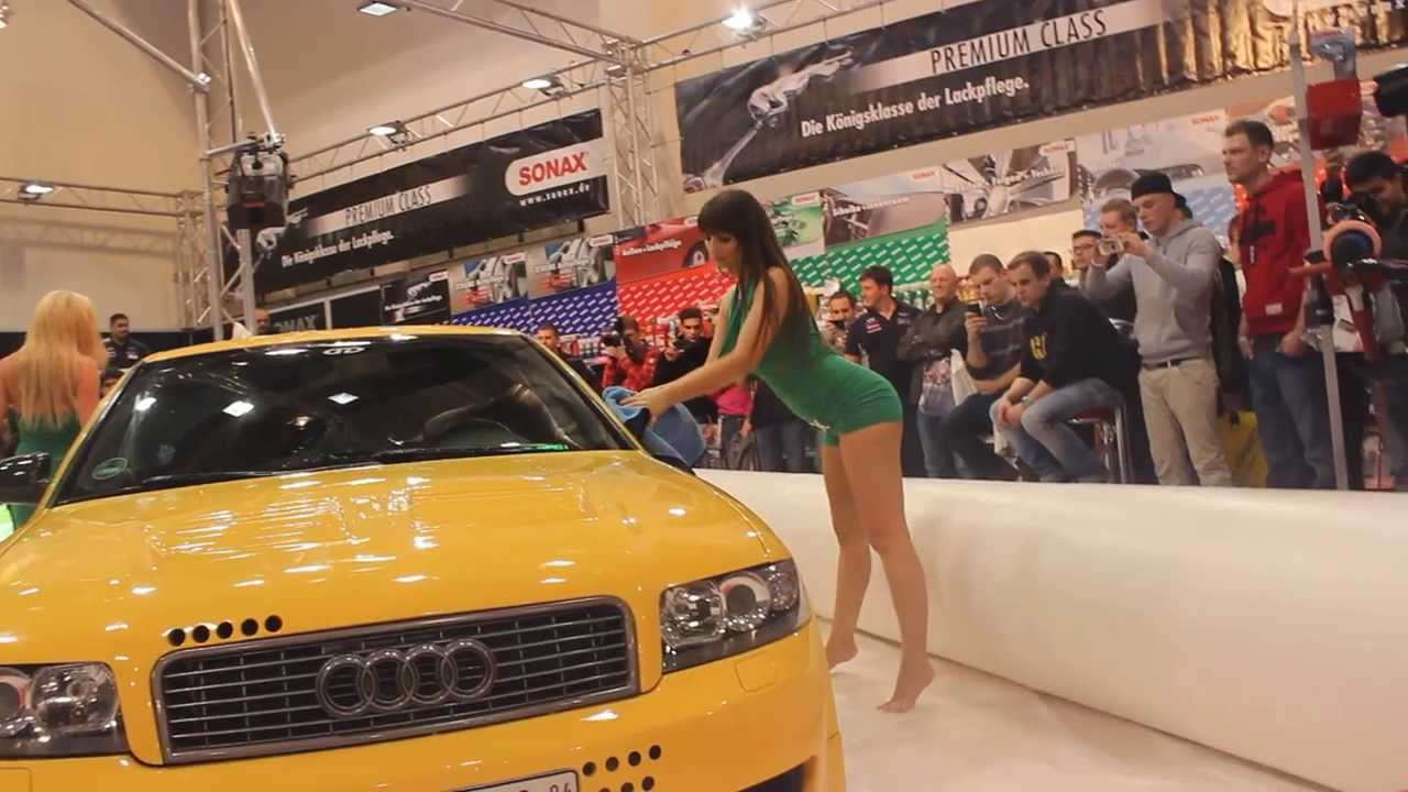 Playmates make a Sexy Car Wash with SONAX Products during Essen Motor Show 2013 on a Audi A4 ...