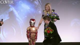 Robert Downey Jr  Gwyneth Paltrow and Chris Evans make fan's dream come true