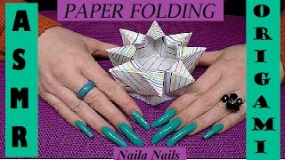 ASMR - Paper Sound - MAKING AN ORIGAMI + PAINTED LONG NAILS