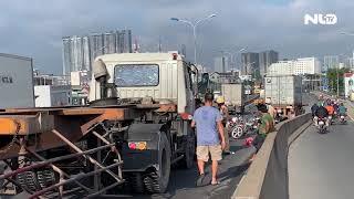 Va chạm liên hoàn trên cầu Phú Mỹ, giao thông ùn tắc | NLĐTV