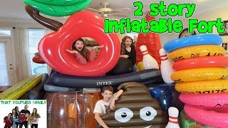 BUILDING A GIANT 2 STORY FORT OUT OF INFLATABLES! / That YouTub3 Family