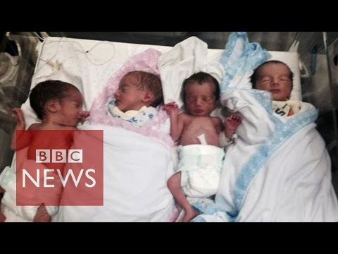 Quads born on eve of Gaza ceasefire
