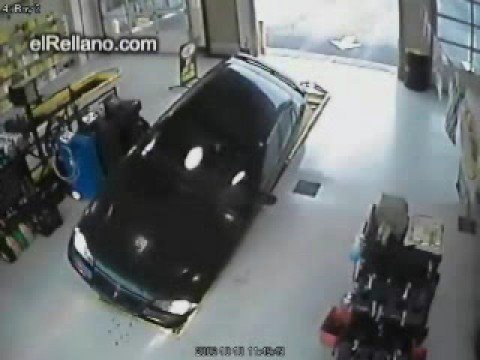 Car Accident, car falls into garage pit