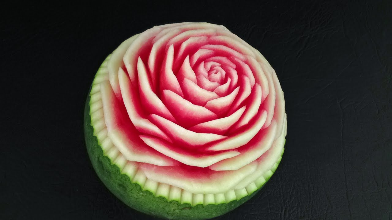 Pink rose watermelon flower advanced lesson by mutita