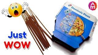 Best out of waste from Incense sticks & Pizza box crafts idea   DIY HOME DECOR   Artsy Madhu 28