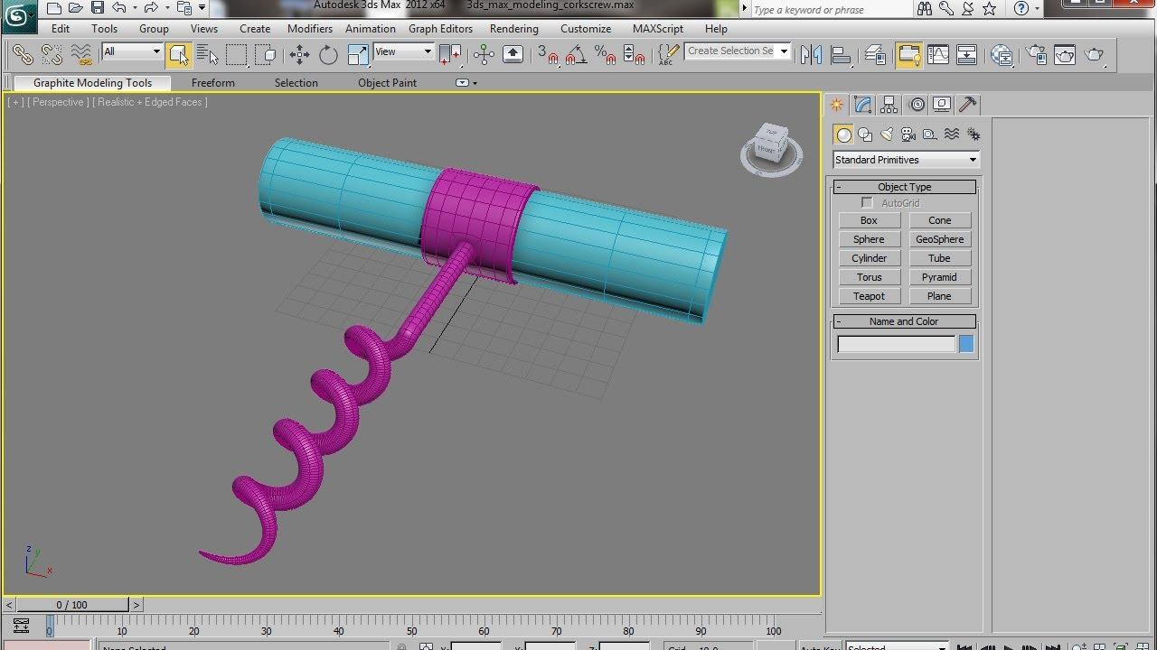 3ds max spline modeling a corkscrew tutorial youtube for 3ds max modelling tutorials step by step
