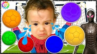 BABY CRYING Spiderman Learn colors w Soccer Balls rainbow vs Bad Spiderman BABY Finger Family song#6
