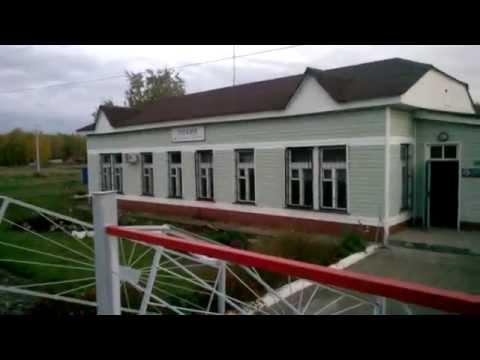 Грузовой поезд на станции Пламя Омской области