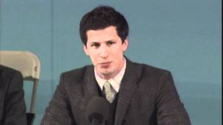 Andy Samberg impersonates Mark Zuckerberg, Mark Wahlberg, Nick Cage at Harvard