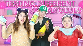 TESTING DIFFERENT GLUES FOR SLIME! part 2| WEIRD GLUES!  | Slimeatory #84