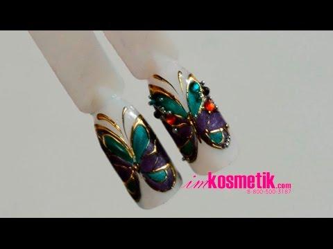 Литье бабочки на ногтях