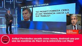 Aníbal Fernández sacado como nunca, destrozó una por una las mentiras de Macri con Majul