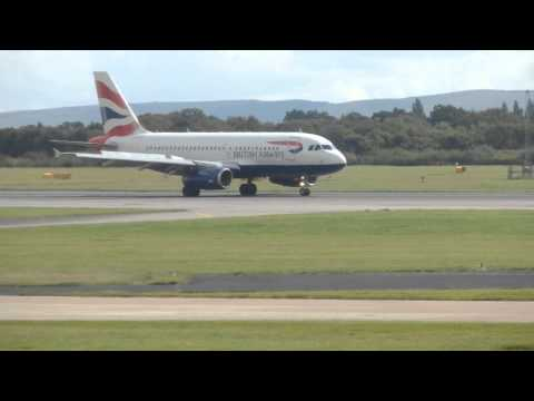 HD - British Airways A319 G-EUPK at Manchester - Landing and Takeoff