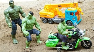 Hulk Motorbikes Rescue Construction Toys Dump Truck Escape Crocodiles | Blocks Toys - Kids and Toys