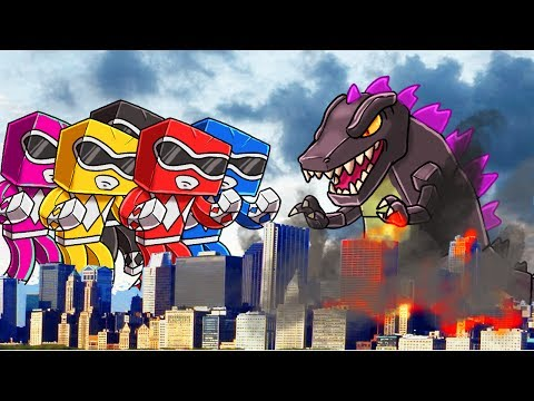Minecraft | Good vs Evil - POWER RANGERS SAVE THE CITY! (Godzilla vs Power Rangers)