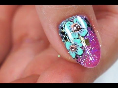 How To: Glitter Foil Floral Gel Nails