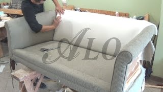 DIY: HOW TO REUPHOLSTER A FURNITURE WITH ROLL ARMS - ALO Upholstery