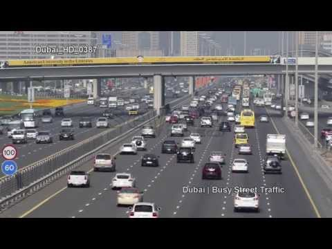 UHD Ultra HD 4K Video Stock Footage Dubai Busy City Street Highway Freeway Traffic Rush Hour Day