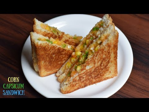 Super Easy Cheesy Corn Capsicum Sandwich | Corn sandwich | Capsicum Sandwich | Cheesy Corn Sandwich