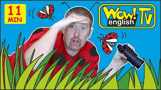 Animals in the Garden + MORE Stories with Steve and Maggie for Kids | Wow English TV