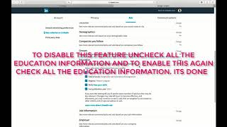 DISABLE OR ENABLE RELEVANT PROMOTED JOBS  AND ADS BASED ON YOUR EDUCATION ON LINKEDIN