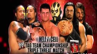 WWE Hell In A Cell Triple Threat Tag Team Match Match Card