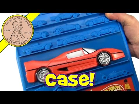 Hot Wheels Race Cars Blue Carrying Case with Handle and Wheels, 1997 Mattel Toys - Video 8 of 8