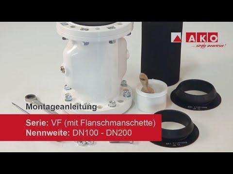 Montageanleitung: AKO Quetschventil (pneumatisch), Serie VF, DN100, DN125, DN150, DN200