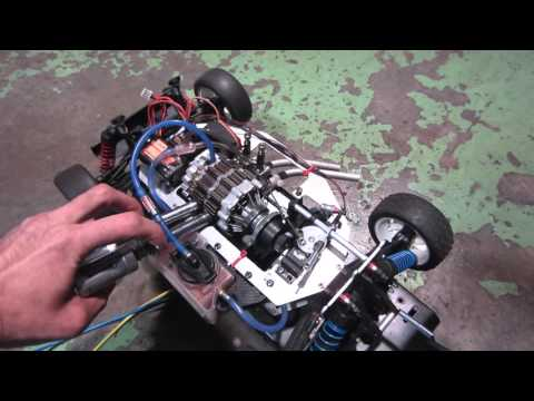 OS WANKEL ROTARY ENGINE 49PI Twin Rotor test on car OS49PI直列2ローター Ver2