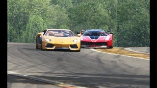 Top Speed Lamborghini Aventador LP700-4 vs Ferrari Ferrari FXX-K at Spa-Francorchamps