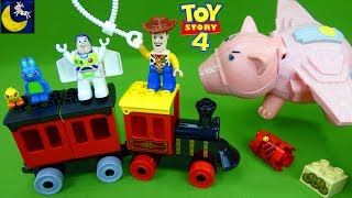 Toy Story 4 Toys Lego Duplo Train Bunny Ducky Funny Toy Stories for Kids Imaginext Pizza Planet Set